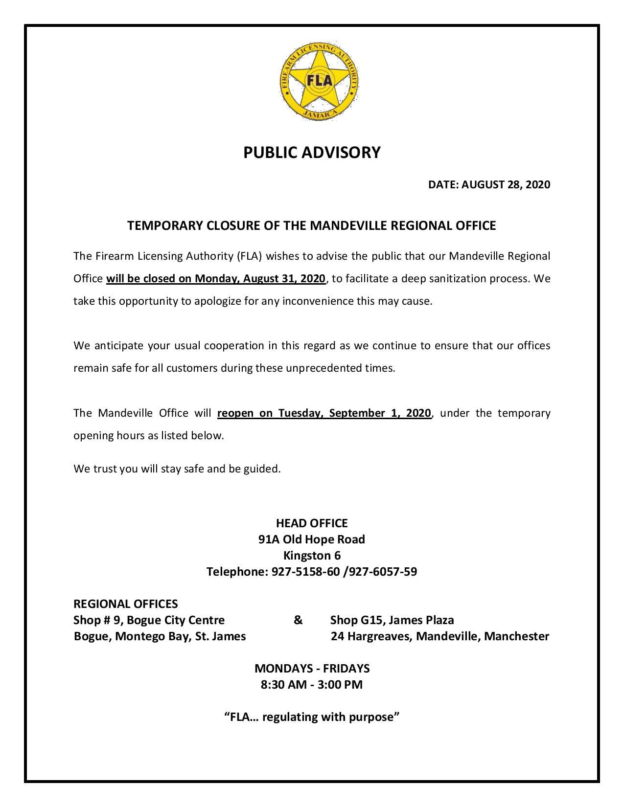 ADVISORY TEMP CLOSURE OF MANDEVILLE page 001